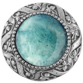 Jewels Collection 1-5/16'' Diameter Victorian Jewel Round Cabinet Knob in Antique Pewter with Green Aventurine Natural Stone, 1-5/16'' Diameter x 1-1/4'' D