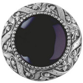 Jewels Collection 1-5/16'' Diameter Victorian Jewel Round Cabinet Knob in Antique Pewter with Onyx Natural Stone, 1-5/16'' Diameter x 1-1/4'' D