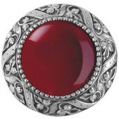 Jewels Collection 1-5/16'' Diameter Victorian Jewel Round Cabinet Knob in Antique Pewter with Red Carnelian Natural Stone, 1-5/16'' Diameter x 1-1/4'' D