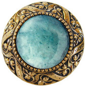 Jewels Collection 1-5/16'' Diameter Victorian Jewel Round Cabinet Knob in Brite Brass with Green Aventurine Natural Stone, 1-5/16'' Diameter x 1-1/4'' D