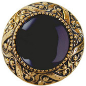Jewels Collection 1-5/16'' Diameter Victorian Jewel Round Cabinet Knob in Brite Brass with Onyx Natural Stone, 1-5/16'' Diameter x 1-1/4'' D