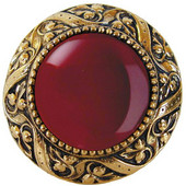 Jewels Collection 1-5/16'' Diameter Victorian Jewel Round Cabinet Knob in Brite Brass with Red Carnelian Natural Stone, 1-5/16'' Diameter x 1-1/4'' D