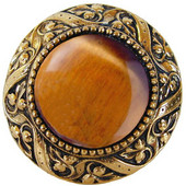 Jewels Collection 1-5/16'' Diameter Victorian Jewel Round Cabinet Knob in Brite Brass with Tiger Eye Natural Stone, 1-5/16'' Diameter x 1-1/4'' D