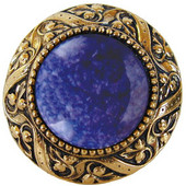 Jewels Collection 1-5/16'' Diameter Victorian Jewel Round Cabinet Knob in Brite Brass with Blue Sodalite Natural Stone, 1-5/16'' Diameter x 1-1/4'' D