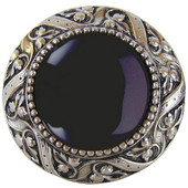 Jewels Collection 1-5/16'' Diameter Victorian Jewel Round Cabinet Knob in Brite Nickel with Onyx Natural Stone, 1-5/16'' Diameter x 1-1/4'' D