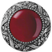 Jewels Collection 1-5/16'' Diameter Victorian Jewel Round Cabinet Knob in Brite Nickel with Red Carnelian Natural Stone, 1-5/16'' Diameter x 1-1/4'' D