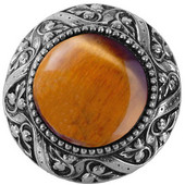 Jewels Collection 1-5/16'' Diameter Victorian Jewel Round Cabinet Knob in Brite Nickel with Tiger Eye Natural Stone, 1-5/16'' Diameter x 1-1/4'' D