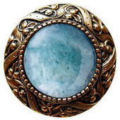 Jewels Collection 1-5/16'' Diameter Victorian Jewel Round Cabinet Knob in 24K Gold Plate with Green Aventurine Natural Stone, 1-5/16'' Diameter x 1-1/4'' D