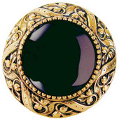 Jewels Collection 1-5/16'' Diameter Victorian Jewel Round Cabinet Knob in 24K Gold Plate with Onyx Natural Stone, 1-5/16'' Diameter x 1-1/4'' D