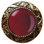 Jewels Collection 1-5/16'' Diameter Victorian Jewel Round Cabinet Knob in 24K Gold Plate with Red Carnelian Natural Stone, 1-5/16'' Diameter x 1-1/4'' D