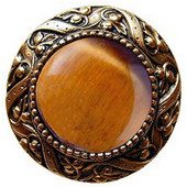 Jewels Collection 1-5/16'' Diameter Victorian Jewel Round Cabinet Knob in 24K Gold Plate with Tiger Eye Natural Stone, 1-5/16'' Diameter x 1-1/4'' D