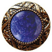 Jewels Collection 1-5/16'' Diameter Victorian Jewel Round Cabinet Knob in 24K Gold Plate with Blue Sodalite Natural Stone, 1-5/16'' Diameter x 1-1/4'' D