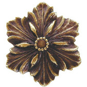 Classic Collection 1-5/8'' Diameter Opulent Flower Cabinet Knob in Antique Brass, 1-5/8'' Diameter x 7/8'' D