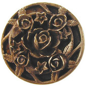 Florals & Leaves Collection 1-1/16'' Diameter Saratoga Rose Round Cabinet Knob in Antique Brass, 1-1/16'' Diameter x 7/8'' D