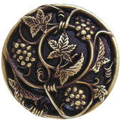 Tuscan Collection 1-5/16'' Diameter Grapevines Round Cabinet Knob in Antique Brass, 1-5/16'' Diameter x 7/8'' D