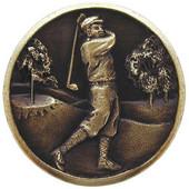 Pastimes Collection 1-1/8'' Diameter Gentleman Golfer Round Cabinet Knob in Antique Brass, 1-1/8'' Diameter x 7/8'' D