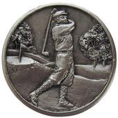 Pastimes Collection 1-1/8'' Diameter Gentleman Golfer Round Cabinet Knob in Satin Nickel, 1-1/8'' Diameter x 7/8'' D