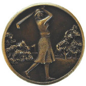 Pastimes Collection 1-1/8'' Diameter Lady of the Links Round Cabinet Knob in Antique Brass, 1-1/8'' Diameter x 7/8'' D
