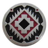 Lodge & Nature Collection 1-3/8'' Diameter Southwest Treasure Round Cabinet Knob in Enameled Antique Pewter, Red and Black , 1-3/8'' Diameter x 7/8'' D