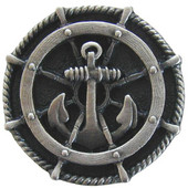Pastimes Collection 1-5/16'' Diameter Ship's Wheel Round Cabinet Knob in Antique Pewter, 1-5/16'' Diameter x 7/8'' D