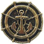 Pastimes Collection 1-5/16'' Diameter Ship's Wheel Round Cabinet Knob in Brite Brass, 1-5/16'' Diameter x 7/8'' D