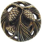 Woodland Collection 1-3/8'' Diameter Cones & Boughs Round Cabinet Knob in Antique Brass, 1-3/8'' Diameter x 7/8'' D