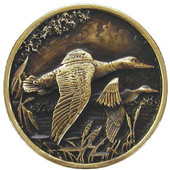 Lodge & Nature Collection 1-5/16'' Diameter On the Wing (Ducks) Round Cabinet Knob in Antique Brass, 1-5/16'' Diameter x 7/8'' D