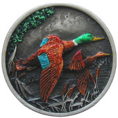 Lodge & Nature Collection 1-5/16'' Diameter On the Wing (Ducks) Round Cabinet Knob in Hand-Tinted Antique Pewter, 1-5/16'' Diameter x 7/8'' D