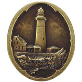 Pastimes Collection 1-1/4'' Diameter Guiding Lighthouse Oval Cabinet Knob in Antique Brass, 1-1/4'' Diameter x 7/8'' D x 1-1/2'' H
