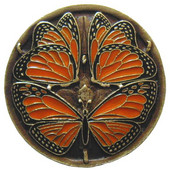 Period Pieces Collection 1-3/8'' Diameter Monarch Butterflies Round Cabinet Knob in Enameled Antique Brass, 1-3/8'' Diameter x 7/8'' D