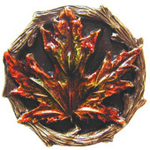 Woodland Collection 1-1/4'' Diameter Maple Leaf Round Cabinet Knob in Hand-Tinted Antique Brass, 1-1/4'' Diameter x 7/8'' D
