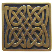 Nouveau Collection 1-3/8'' Wide Celtic Isles Square Cabinet Knob in Antique Brass, 1-3/8'' W x 7/8'' D x 1-3/8'' H