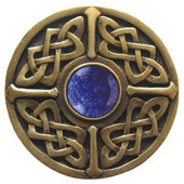 Nouveau Collection 1-3/8'' Diameter Celtic Jewel Round Cabinet Knob in Antique Brass with Blue Sodalite Natural Stone, 1-3/8'' Diameter x 1-1/8'' D