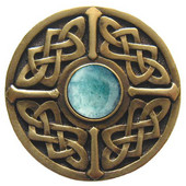 Nouveau Collection 1-3/8'' Diameter Celtic Jewel Round Cabinet Knob in Antique Brass with Green Aventurine Natural Stone, 1-3/8'' Diameter x 1-1/8'' D