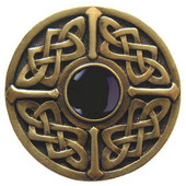 Nouveau Collection 1-3/8'' Diameter Celtic Jewel Round Cabinet Knob in Antique Brass with Onyx Natural Stone, 1-3/8'' Diameter x 1-1/8'' D