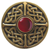 Nouveau Collection 1-3/8'' Diameter Celtic Jewel Round Cabinet Knob in Antique Brass with Red Carnelian Natural Stone, 1-3/8'' Diameter x 1-1/8'' D