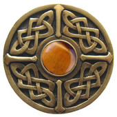 Nouveau Collection 1-3/8'' Diameter Celtic Jewel Round Cabinet Knob in Antique Brass with Tiger Eye Natural Stone, 1-3/8'' Diameter x 1-1/8'' D