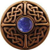 Nouveau Collection 1-3/8'' Diameter Celtic Jewel Round Cabinet Knob in Antique Copper with Blue Sodalite Natural Stone, 1-3/8'' Diameter x 1-1/8'' D