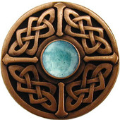 Nouveau Collection 1-3/8'' Diameter Celtic Jewel Round Cabinet Knob in Antique Copper with Green Aventurine Natural Stone, 1-3/8'' Diameter x 1-1/8'' D