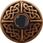 Nouveau Collection 1-3/8'' Diameter Celtic Jewel Round Cabinet Knob in Antique Copper with Onyx Natural Stone, 1-3/8'' Diameter x 1-1/8'' D