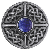 Nouveau Collection 1-3/8'' Diameter Celtic Jewel Round Cabinet Knob in Antique Pewter with Blue Sodalite Natural Stone, 1-3/8'' Diameter x 1-1/8'' D