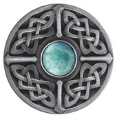 Nouveau Collection 1-3/8'' Diameter Celtic Jewel Round Cabinet Knob in Antique Pewter with Green Aventurine Natural Stone, 1-3/8'' Diameter x 1-1/8'' D