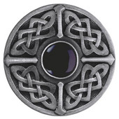 Nouveau Collection 1-3/8'' Diameter Celtic Jewel Round Cabinet Knob in Antique Pewter with Onyx Natural Stone, 1-3/8'' Diameter x 1-1/8'' D