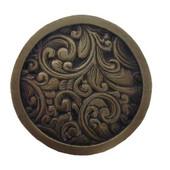 Classic Collection 1-3/8'' Diameter Saddleworth Round Cabinet Knob in Antique Brass, 1-3/8'' Diameter x 7/8'' D