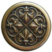 Chateau Collection 1-3/8'' Diameter Fleur-de-Lis Round Cabinet Knob in Antique Brass, 1-3/8'' Diameter x 7/8'' D