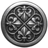Chateau Collection 1-3/8'' Diameter Fleur-de-Lis Round Cabinet Knob in Antique Pewter, 1-3/8'' Diameter x 7/8'' D