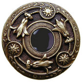 Jewels Collection 1-3/8'' Diameter Jeweled Lily Round Cabinet Knob in Antique Pewter with Onyx Natural Stone, 1-3/8'' Diameter x 1-1/8'' D