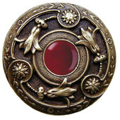 Jewels Collection 1-3/8'' Diameter Jeweled Lily Round Cabinet Knob in Brite Nickel with Red Carnelian Natural Stone, 1-3/8'' Diameter x 1-1/8'' D