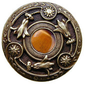 Jewels Collection 1-3/8'' Diameter Jeweled Lily Round Cabinet Knob in Antique Pewter with Tiger Eye Natural Stone, 1-3/8'' Diameter x 1-1/8'' D