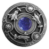 Jewels Collection 1-3/8'' Diameter Jeweled Lily Round Cabinet Knob in Antique Pewter with Blue Sodalite Natural Stone, 1-3/8'' Diameter x 1-1/8'' D